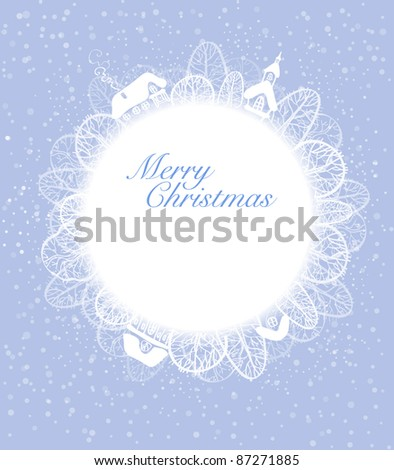 Christmas card in a circle with trees and houses - stock vector