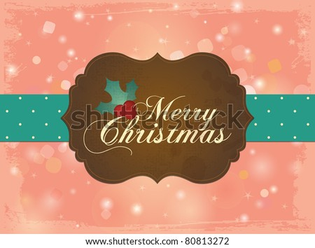 Christmas Card in Retro Style. Sweet and lovely Design. - stock vector