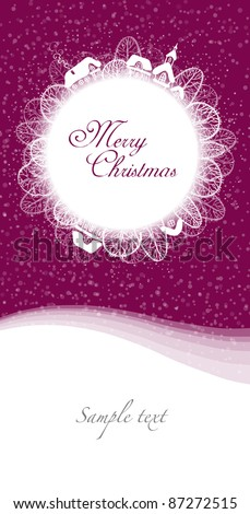 Christmas card in the circle on burgundy background - stock vector
