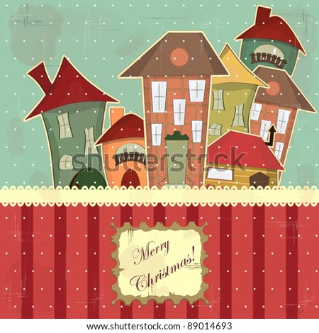 Christmas card in vintage style - retro houses in the snow - stock vector