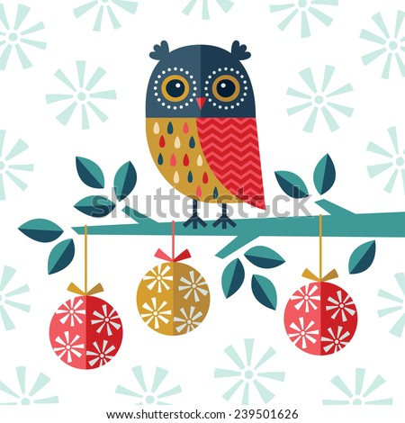 Christmas card, invitation or menu design with festive owl, Christmas baubles and snowflakes in navy blue, gold and red on white background.  - stock vector