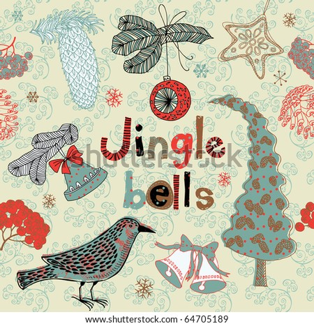 Christmas card. jingle bells - stock vector