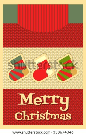 Christmas Card. Knitted Sweater with Applique Christmas. Vector Illustration. - stock vector