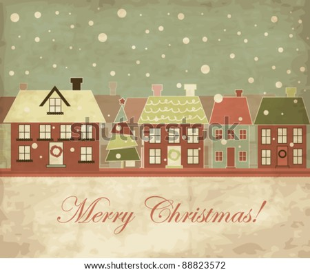 Christmas card, little town with snowflakes - stock vector