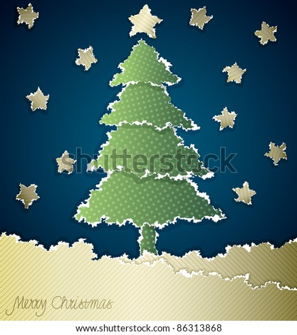 Christmas card made of torn paper with space for Your text - stock vector