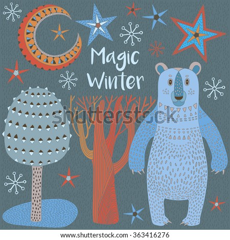 Christmas card. Magic winter. New Year background - stock vector