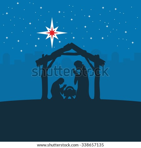 Christmas card mary joseph baby jesus stock vector for Baby jesus christmas decoration