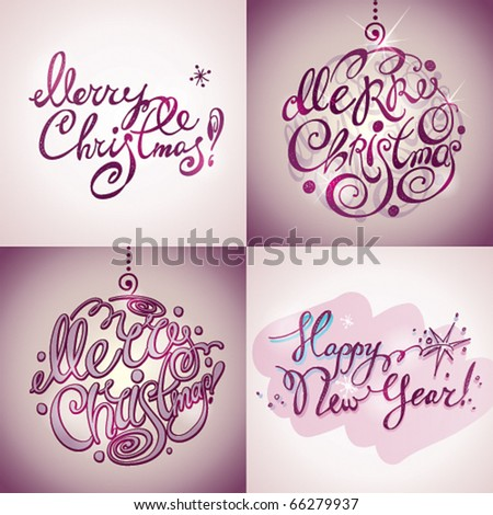 Christmas Card. Merry Christmas and Happy New Year lettering by four styles of a writing on a violet background. Vector illustration. - stock vector