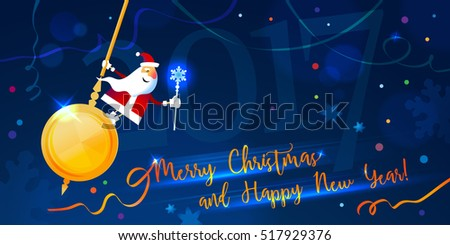 Christmas card. Merry Christmas and Happy New Year. Santa swinging on a pendulum clock. Vector illustration