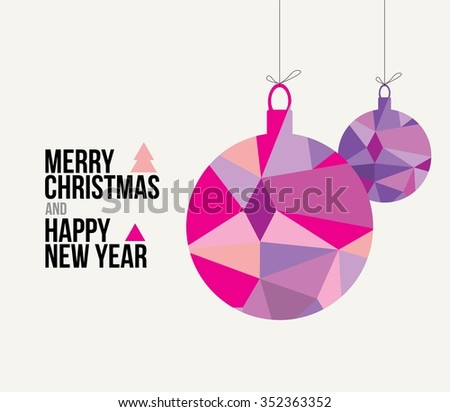 Christmas card. Merry christmas happy new year, circle shape, triangle style. - stock vector