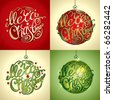 Christmas Card. Merry Christmas lettering by four styles of a writing and color. Vector illustration. - stock photo