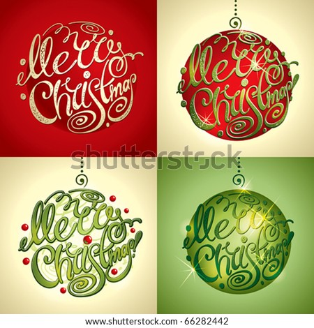 Christmas Card. Merry Christmas lettering by four styles of a writing and color. Vector illustration. - stock vector