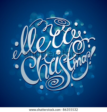 Christmas Card. Merry Christmas lettering on a blue background. Vector illustration. - stock vector