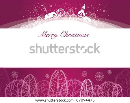 Christmas Card on burgundy background - stock vector
