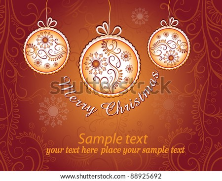 Christmas card on golden background - stock vector