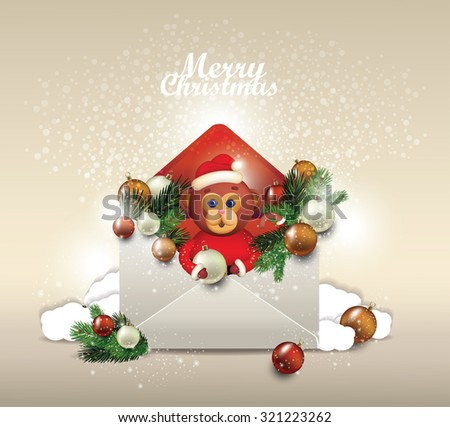 Christmas card. Open envelope  with fir tree branches A monkey with an envelope. A letter for Santa - stock vector