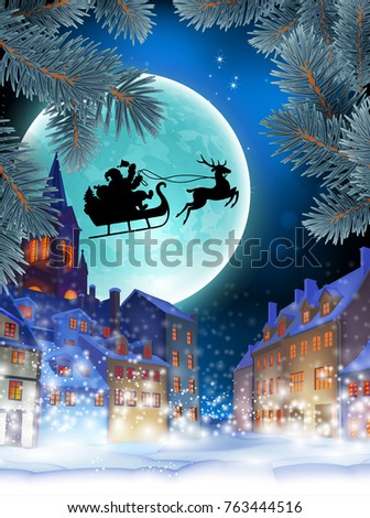 Christmas card. Over the snow-covered city, Santa is flying on a sleigh against the background of the moon. Highly realistic illustration.
