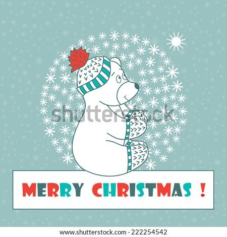 Christmas card. Polar Bear. Merry Christmas. New Year. - stock vector
