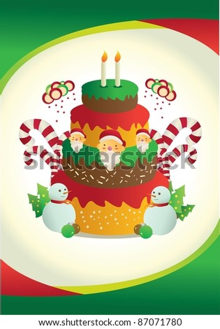 christmas card poster with beautiful cake - stock vector