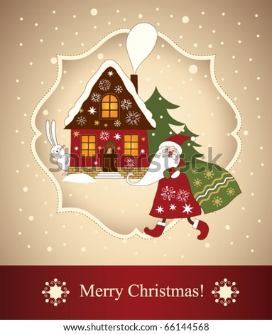 Christmas card, santa and holiday house - stock vector