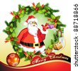 Christmas card, Santa Claus with gifts - stock photo