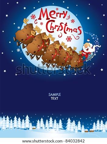 Christmas Card Santa`s sleigh - vector - stock vector