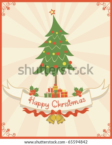 Christmas card. Scroll and text.Vintage background  for design - stock vector