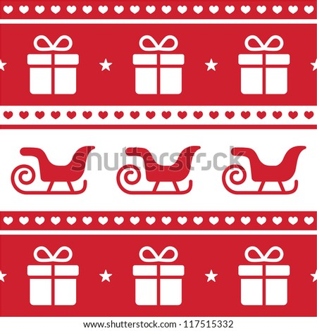 Christmas card, seamless pattern with santa's sledges and present - stock vector