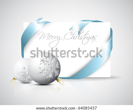 Christmas card - silver ribbon around blank paper with christmas decorations - stock vector