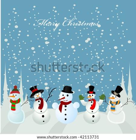 Christmas card, snowman - stock vector