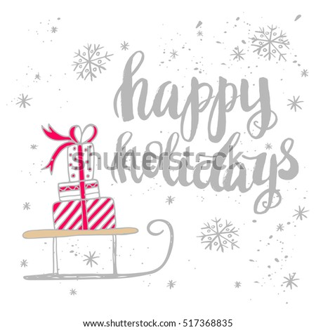 Christmas Card Template Hand Drawn Lettering Stock Vector HD (Royalty Free)  517368835   Shutterstock
