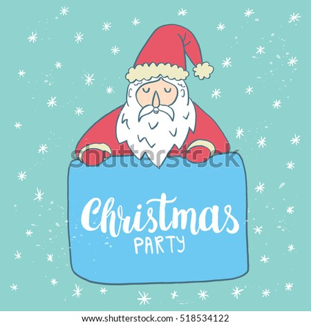 christmas card template santa claus hand drawn lettering christmas party perfect brush typography