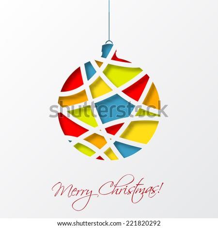 Christmas card template with colorful christmas ball. Vector illustration. - stock vector