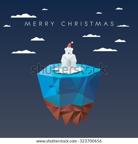 Christmas card template with polar bear in low poly design. Cute adorable animal cartoon for holiday. Eps10 vector illustration. - stock vector