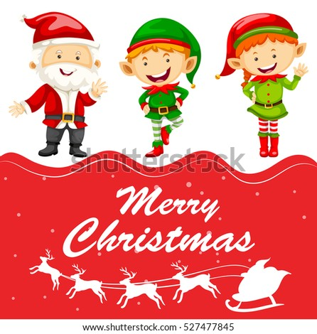 Elf Templates | Christmas Card Template Santa Elf Illustration Stock Vektorgrafik