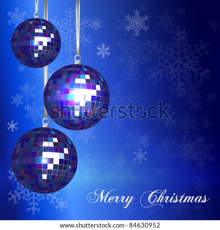 Christmas card template with vintage style disco balls and snowflake background. Space for your text. EPS10 vector format.