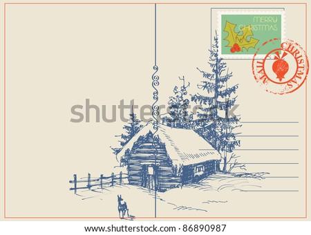 Christmas card winter nature scene. Vector - stock vector