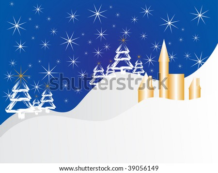 christmas card - winter scene - vector