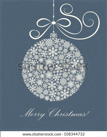 Christmas card with a ball - stock vector