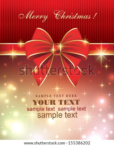 Christmas card with a bow - stock vector