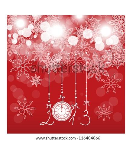 Christmas card with a clock - stock vector
