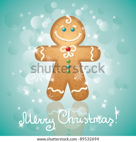 christmas card with a ginger-bread and stars - stock vector