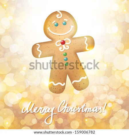 christmas card with a gingerbread on gold background - stock vector