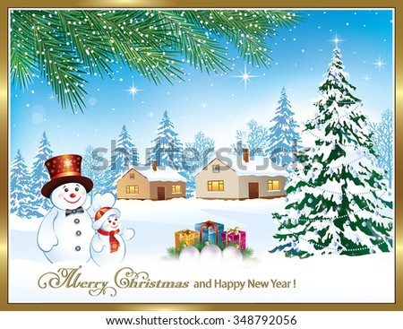 Christmas card with a snowman, Christmas tree and gifts in a frame on the background of nature