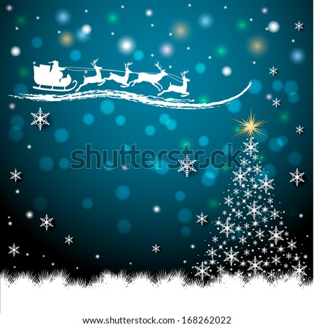 Christmas card with a tree. All design elements are easily edited. - stock vector