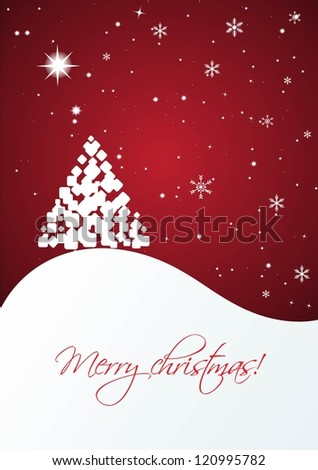 Christmas card with alone fir tree on the snow hill - stock vector