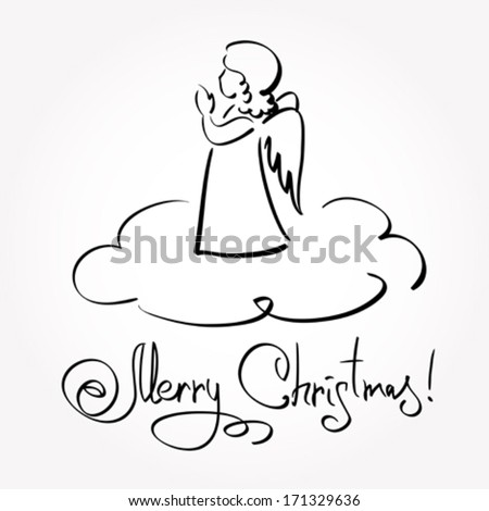 Christmas Card with Angel  - stock vector