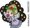 Christmas Card with Angel, vector, fully editable. - stock vector