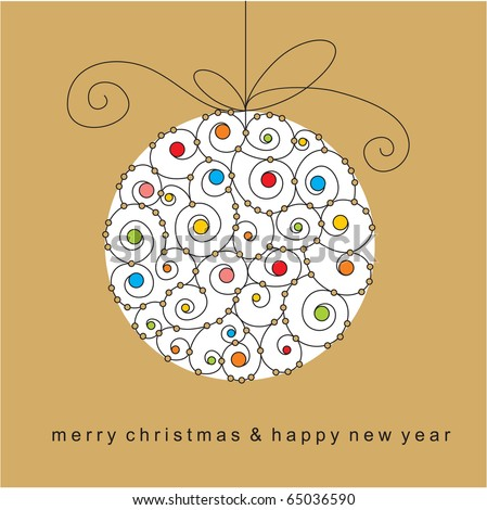 christmas card with ball - stock vector