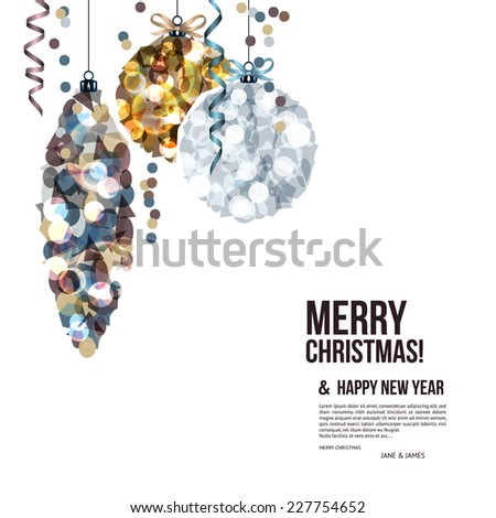 Christmas card with balls composed of shards. - stock vector